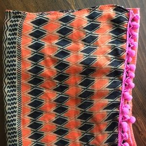 Tribal scarf with Pom Pom fringe